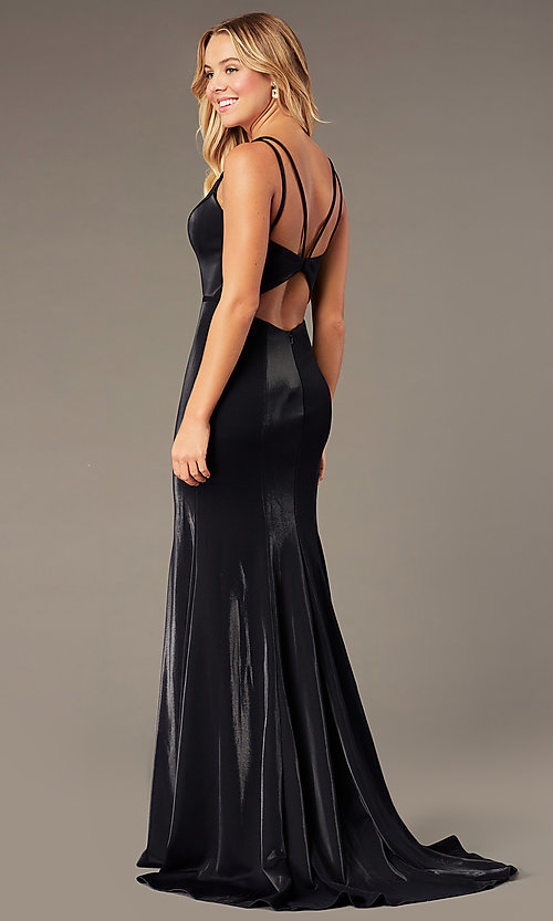 Image of JVNX by Jovani long mermaid v-neck formal dress. Style: JO-JVNX66954 Back Image