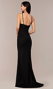 Image of long JVNX by Jovani prom dress in black glitter knit. Style: JO-JVNX67149 Back Image