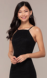 Image of long JVNX by Jovani prom dress in black glitter knit. Style: JO-JVNX67149 Detail Image 1