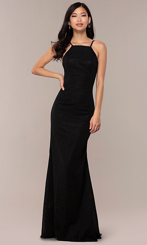 Image of long JVNX by Jovani prom dress in black glitter knit. Style: JO-JVNX67149 Front Image