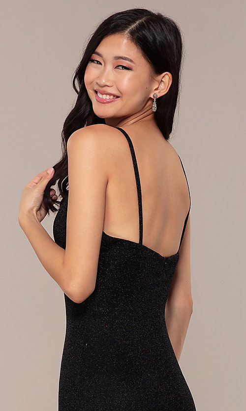 Image of long JVNX by Jovani prom dress in black glitter knit. Style: JO-JVNX67149 Detail Image 2