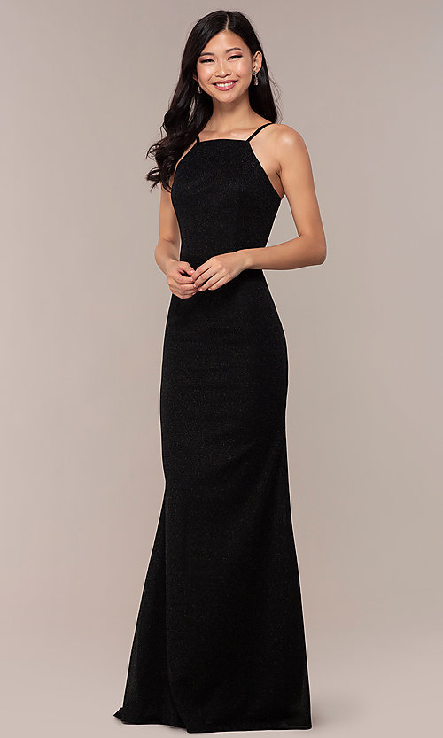 Image of long JVNX by Jovani prom dress in black glitter knit. Style: JO-JVNX67149 Detail Image 3