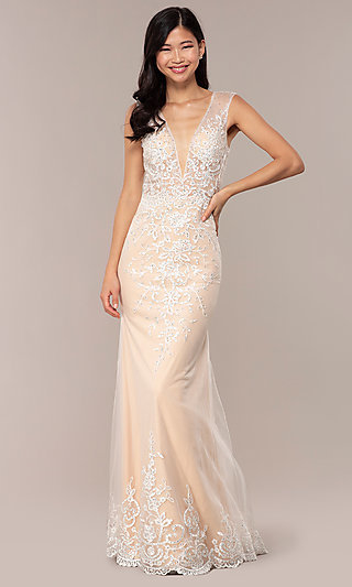 JVNX by Jovani Embroidered V-Neck Long Formal Dress