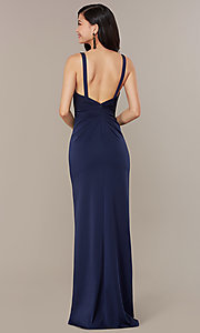 Image of v-neck mock-wrap long JVNX by Jovani formal dress. Style: JO-JVNX58378 Back Image