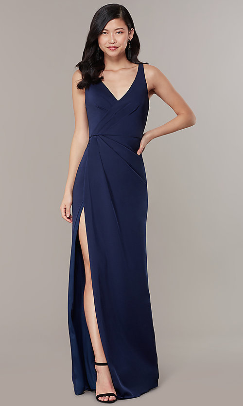 Image of v-neck mock-wrap long JVNX by Jovani formal dress. Style: JO-JVNX58378 Front Image