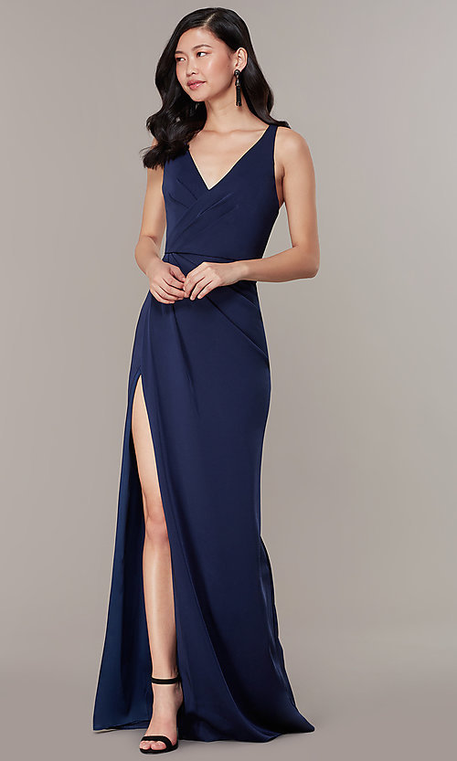 Image of v-neck mock-wrap long JVNX by Jovani formal dress. Style: JO-JVNX58378 Detail Image 2