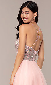 Image of long JVNX by Jovani prom dress with rhinestones. Style: JO-JVNX67060 Detail Image 2