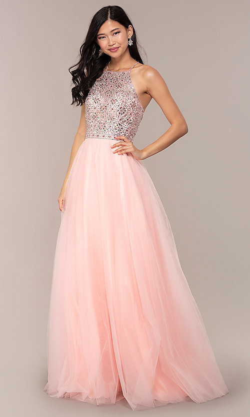 Image of long JVNX by Jovani prom dress with rhinestones. Style: JO-JVNX67060 Front Image