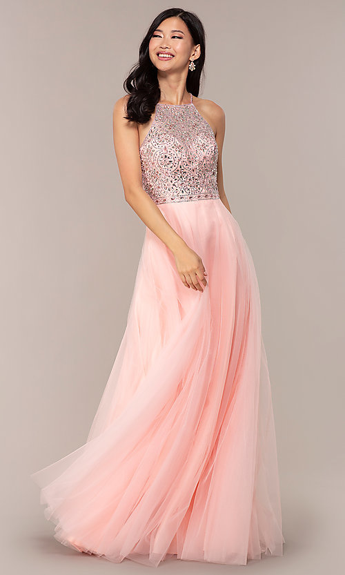 Image of long JVNX by Jovani prom dress with rhinestones. Style: JO-JVNX67060 Detail Image 3