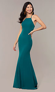 Image of emerald green long formal dress from JVNX by Jovani. Style: JO-JVNX69971 Detail Image 3