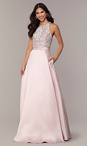 Image of JVNX by Jovani long a-line formal gown in blush. Style: JO-JVNX66719 Front Image