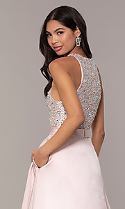 Image of JVNX by Jovani long a-line formal gown in blush. Style: JO-JVNX66719 Detail Image 2