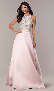 Image of JVNX by Jovani long a-line formal gown in blush. Style: JO-JVNX66719 Detail Image 3