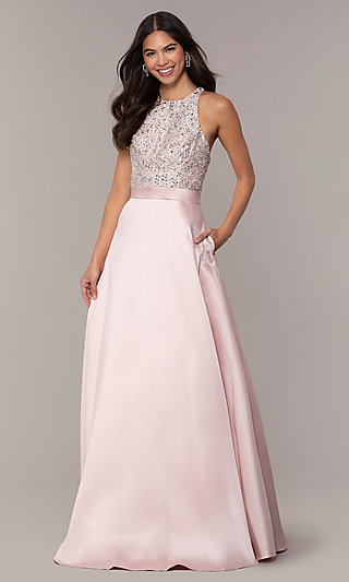 JVNX by Jovani Long A-Line Formal Gown in Blush