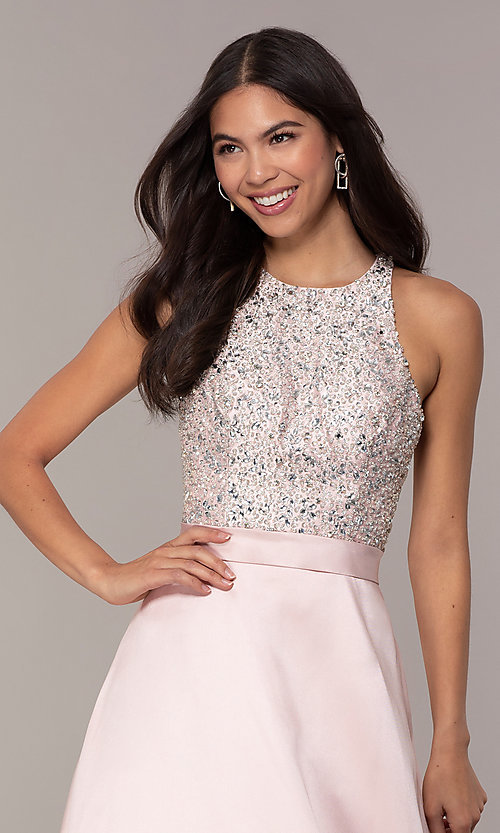 Image of JVNX by Jovani long a-line formal gown in blush. Style: JO-JVNX66719 Detail Image 1