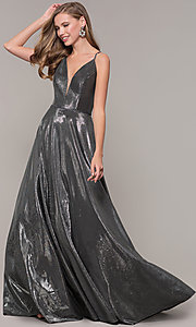 Image of JVNX by Jovani long prom dress in metallic lamé. Style: JO-JVNX67517 Detail Image 3