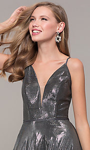 Image of JVNX by Jovani long prom dress in metallic lamé. Style: JO-JVNX67517 Detail Image 5