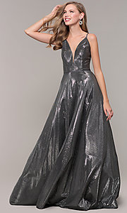 Image of JVNX by Jovani long prom dress in metallic lamé. Style: JO-JVNX67517 Detail Image 7