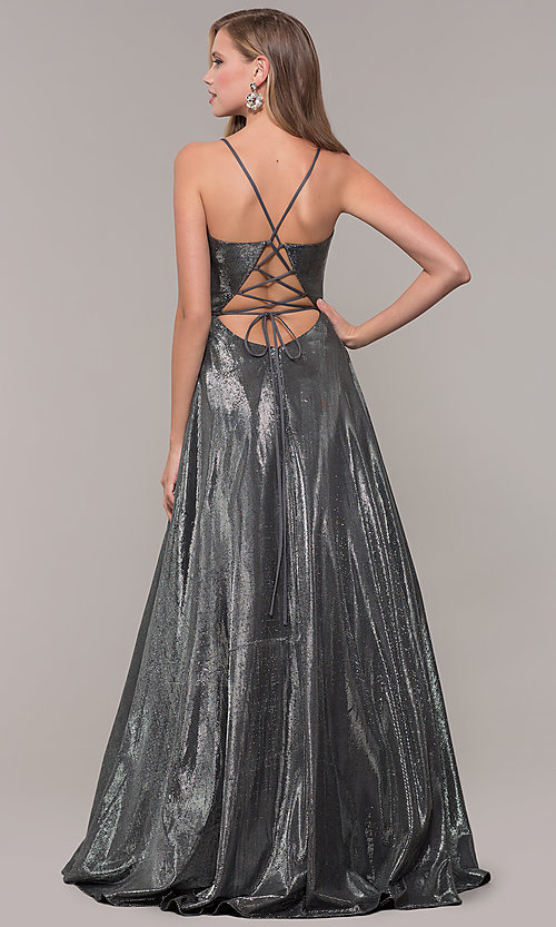 Image of JVNX by Jovani long prom dress in metallic lamé. Style: JO-JVNX67517 Detail Image 4