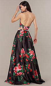 Image of print two-piece long JVNX by Jovani prom dress. Style: JO-JVNX68872 Back Image