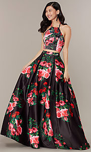 Image of print two-piece long JVNX by Jovani prom dress. Style: JO-JVNX68872 Detail Image 2
