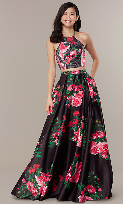 Image of print two-piece long JVNX by Jovani prom dress. Style: JO-JVNX68872 Front Image