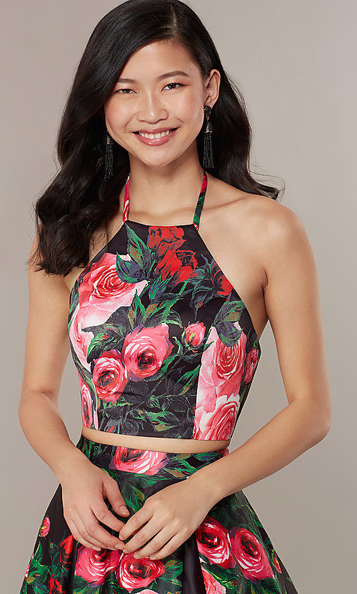 Image of print two-piece long JVNX by Jovani prom dress. Style: JO-JVNX68872 Detail Image 1