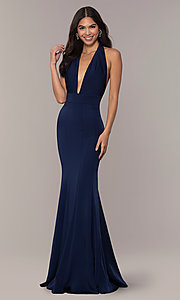 Image of navy backless halter formal gown from JVNX by Jovani. Style: JO-JVNX68874 Front Image