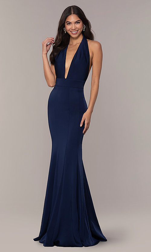 7a604aa75ba Image of navy backless halter formal gown from JVNX by Jovani. Style  JO-