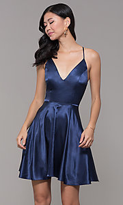 Image of v-neck short satin homecoming dress with pleats. Style: MCR-PL-2663 Front Image