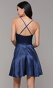 Image of v-neck short satin homecoming dress with pleats. Style: MCR-PL-2663 Back Image