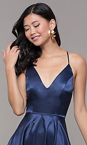 Image of v-neck short satin homecoming dress with pleats. Style: MCR-PL-2663 Detail Image 1
