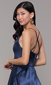 Image of v-neck short satin homecoming dress with pleats. Style: MCR-PL-2663 Detail Image 2