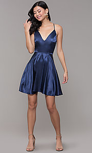 Image of v-neck short satin homecoming dress with pleats. Style: MCR-PL-2663 Detail Image 3