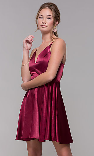V-Neck Short Satin Homecoming Dress with Pleats