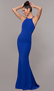 Image of lace-back high-neck long formal prom dress. Style: MCR-3051 Detail Image 4