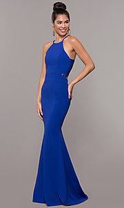 Image of lace-back high-neck long formal prom dress. Style: MCR-3051 Detail Image 3