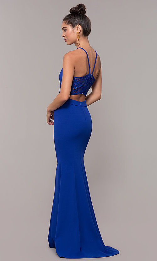 Image of lace-back high-neck long formal prom dress. Style: MCR-3051 Detail Image 5