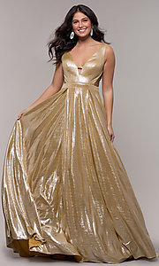 Image of gold JVN by Jovani metallic long formal dress. Style: JO-JVN-JVN66900 Front Image