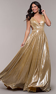 Image of gold JVN by Jovani metallic long formal dress. Style: JO-JVN-JVN66900 Detail Image 3