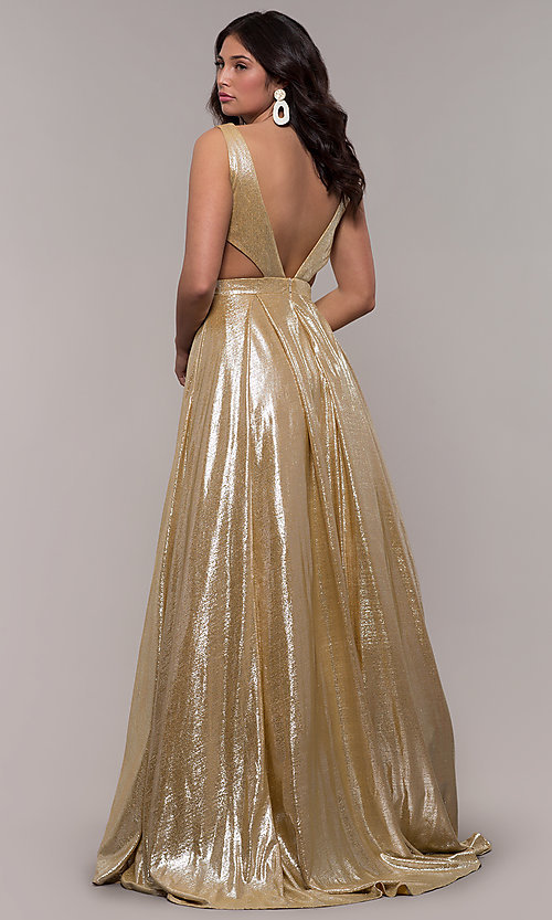 Image of gold JVN by Jovani metallic long formal dress. Style: JO-JVN-JVN66900 Back Image