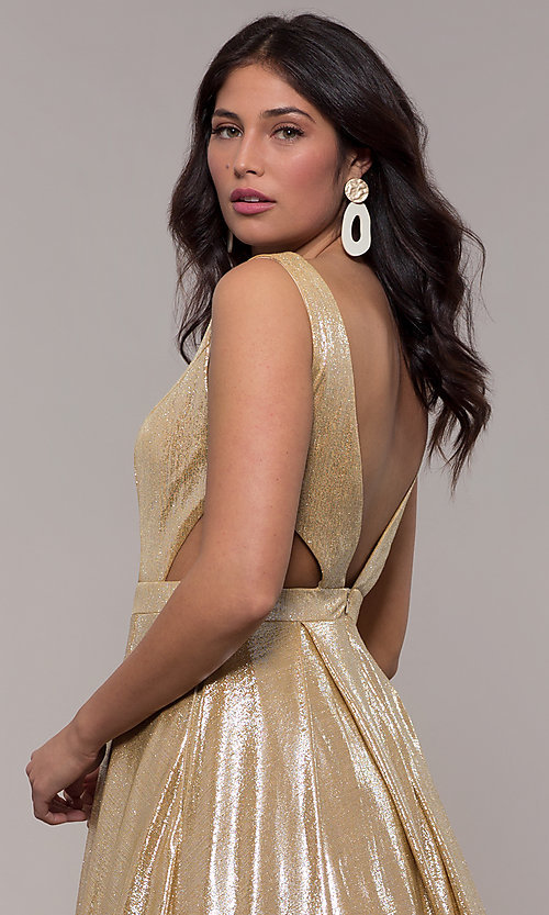 Image of gold JVN by Jovani metallic long formal dress. Style: JO-JVN-JVN66900 Detail Image 2