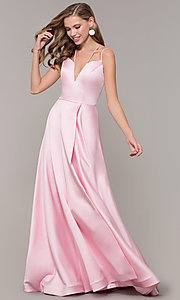 Image of mock-wrap-skirt long prom dress from JVN by Jovani. Style: JO-JVN-JVN67098 Detail Image 3