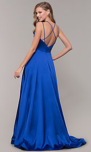 Image of mock-wrap-skirt long prom dress from JVN by Jovani. Style: JO-JVN-JVN67098 Detail Image 5
