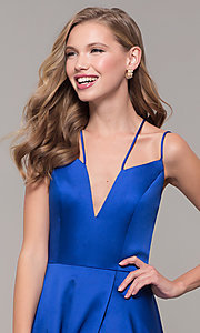 Image of mock-wrap-skirt long prom dress from JVN by Jovani. Style: JO-JVN-JVN67098 Detail Image 6