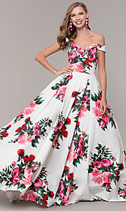 Image of off-the-shoulder long floral-print prom dress.  Style: JO-JVN-JVN65965 Front Image