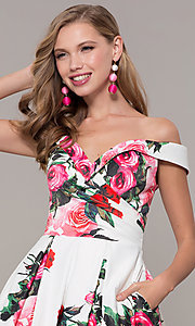 Image of off-the-shoulder long floral-print prom dress.  Style: JO-JVN-JVN65965 Detail Image 1