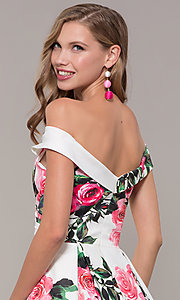 Image of off-the-shoulder long floral-print prom dress.  Style: JO-JVN-JVN65965 Detail Image 2