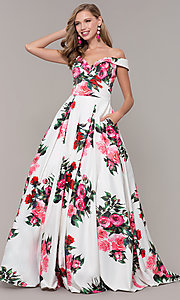 Image of off-the-shoulder long floral-print prom dress.  Style: JO-JVN-JVN65965 Detail Image 3