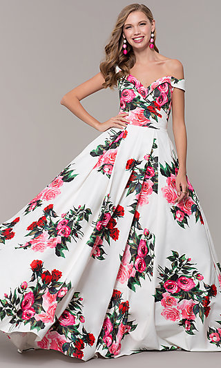 b316e3becfc Off-the-Shoulder Long Floral-Print Prom Dress